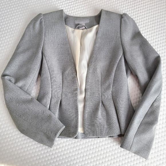 H&M Grey Fitted Peplum Blazer Size 4